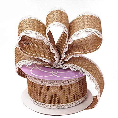 Burlap and Lace Wired Ribbon - 2 1/2