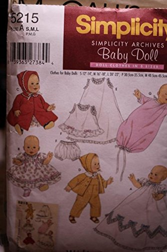 Simplicity Pattern 5215 Sz S,M,L Wardrobe For Baby Dolls In Three Sizes