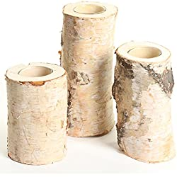 Koyal Wholesale Birch Wedding Birch Log Candle Holder, Real Wood Decorations, Centerpieces, Log Decor (Birch, Set/3)
