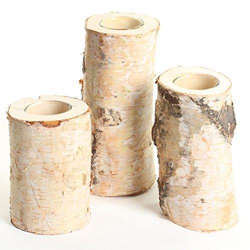 Koyal Wholesale Birch Wedding Birch Log Candle Holder, Real Wood Decorations, Centerpieces, Log Decor (Birch, Set/3)