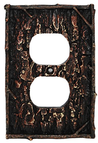- HiEnd Accents Lodge Pine Bark Single Outlet Cover