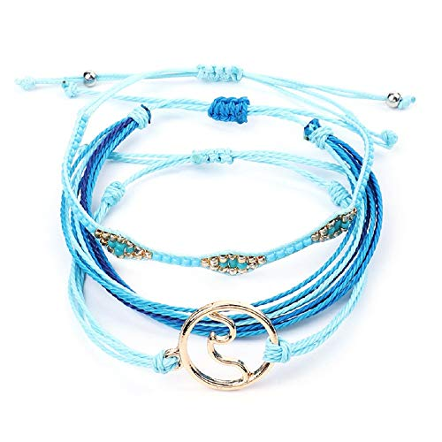 (The Belcher's 3pcs Wave Waterproof Braided Wax Rope Friendship Bracelets Set Seed Beads String Ocean Surfer Bangle Anklet for Women Girls Handmade Adjustable Boho Bohemian Jewelry -Wave)