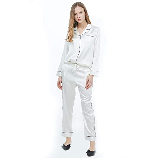 R.Rgrenen Silk Pajamas Women Satin Nightgown V-Neck Soft Slip Sleepwear Long Sleeve