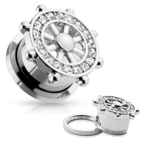 CZ Paved Yacht Wheel Top 316L Surgical Steel Screw Fit Flesh Ear Tunnels - Guage Wheel