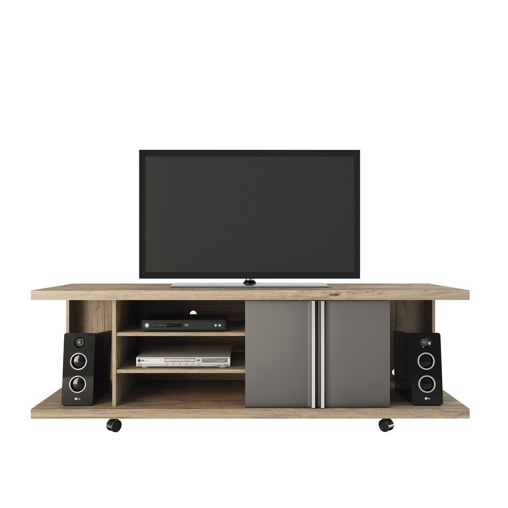 Contemporary Entertainment Center in Nature and Onyx by Manhattan Comfort