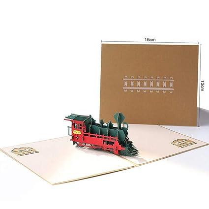 LnLyin - Tarjetas de felicitación 3D con diseño de tren ...