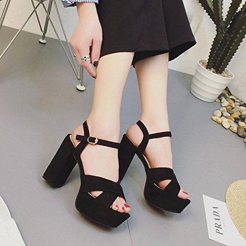yalanshop Delgada Negro Alto Taiwán Zapatos Hembra Gruesas de Negro con Mujer de Pescado Impermeable Tacón de 35 Boca Zapatos Tacón Marea Sandalias de Vídeo rrTw7Bqdx