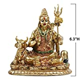 "Lord Shiva Statue with Nandi - 6.3""H Polystone Hindu God Shiva India Buddha for Home Temple and Mandir,Resin Indian Shiva Lingam Figurine for Home Decor,Wedding Décor and Return Gifts,Diwali Gifts"