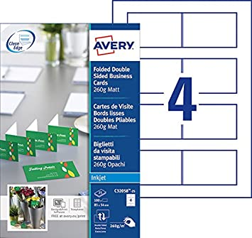 Avery 100 Cartes De Visite Doubles Pliables Bords Lisses 260g