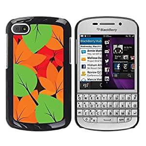 LECELL -- Funda protectora / Cubierta / Piel For BlackBerry Q10 -- Autumn Leaves Colors Pattern --