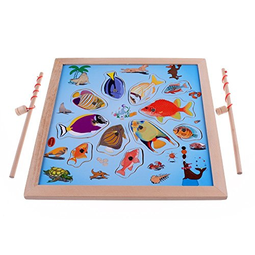 (Lewo Magnetic Wooden Puzzle Fishing Game Playset with 11 Fishes and 2 Poles)