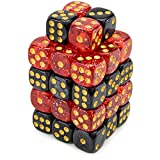 Set of 40 Wiz Dice 12mm War Dice, Blood & Oil (Glitter Red and Pearl Black)