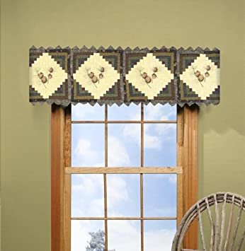 Amazon.com: Donna Sharp Barn Raising Pine Cone Hand Quilted ... : quilted valances - Adamdwight.com