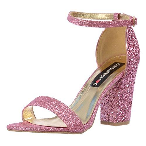 Tacón Partido Mujeres Rosa Onlineshoe Glitter Las Tiras De Bloque fTnSWfR