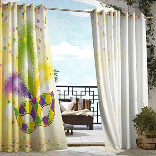 VIVIDX Sliding Door Curtain,Mardi Gras,for Porch&Beach&Patio,W72x84L Yellow Green Purple