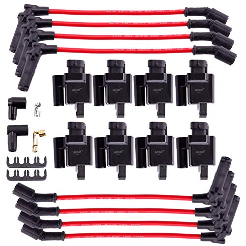 MAS 8 Pack Square Compatible Ignition Coil UF271 With One Set Permanence Spark Plug Wires For CHEVY/CADILLAC/GMC ESCALADE SILVERADO 1500-3500 SIERRA 1500-3500 HUMMER H2 2003-2007 4.L 5.3L 6.0L 6.2L