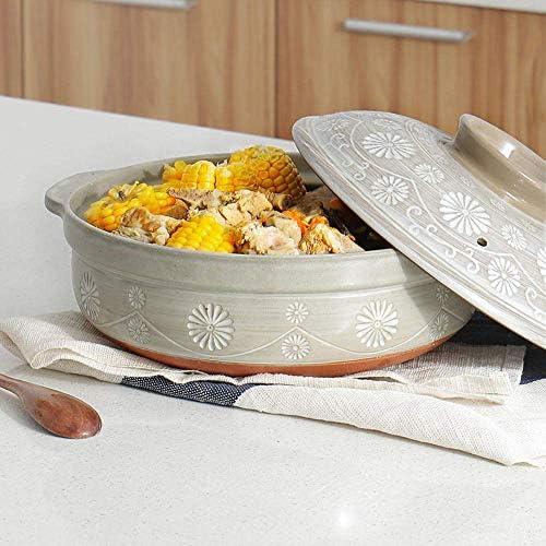 ZJZ Casseroles avec couvercles Pot en céramique Casserole Cuisson Pot en céramique - Facile à Verser, poignée Confortable, 3L