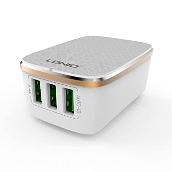 ELECTRÓNICA REY Cargador Pared Multipuerto 3 USB Carga Rápida 3.4 ...