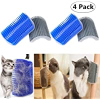 4 Pack Cat Self Groomer, Magnoloran Cats Corner Groomers Soft Wall Corner Massage Combs Grooming Brush Soft Rubber Bristles Perfect Massager Deshedding Tool for Kitten Puppy (Blue and Grey)