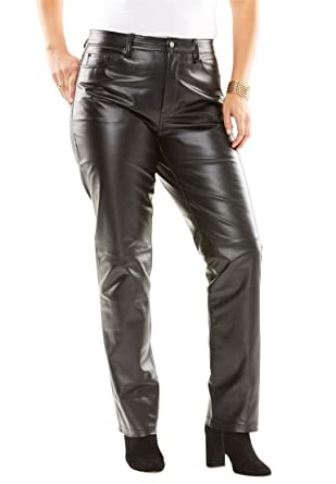 0220c99e22c2c Jessica London Women s Plus Size Straight Leg Leather Pants - Black