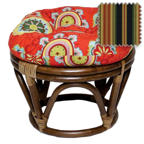 18-Inch Bali Rattan Papasan Footstool with Cushion - Print Outdoor Fabric, Lyndhurst Raven