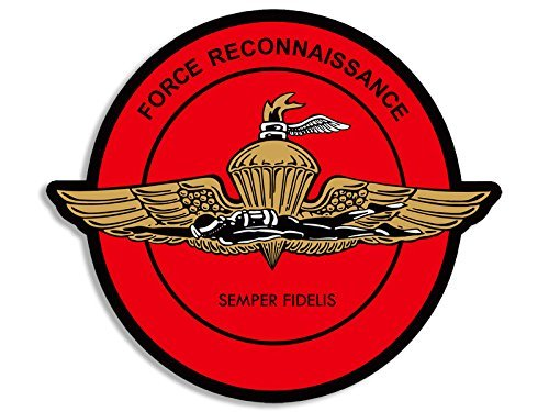 ROUND Force Recon Wings w Diver Seal Sticker (marines (Recon Full Shield)