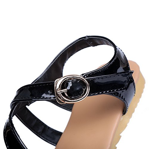 Puntera de Sólido Negro Hebilla Abierta Sandalias AalarDom Mujer Mini vestir Charol Tacón 5qwPWnzHxY