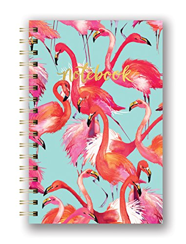 Studio Oh! Hardcover Spiral Notebook Available in 9 Different Designs, Flamboyant Flamingos by Studio Oh