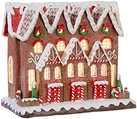 Raz 11.5 LED Lighted Gingerbread Townhouse Christmas Figure 3916190