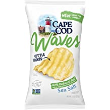Cape Cod Potato Chips, Kettle Cooked Wavy Cut Reduced Fat Sea Salt, 7.5 Ounce