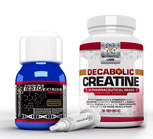 Nutracell Labs Anabolic Muscle Stack : Testo Extreme Anabolic & 10 Blend Decabolic Creatine - Strongest Legal Testosterone Booster / Creatine Powder (Best Muscle Building Stack For Hardgainers)