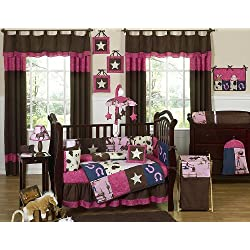 Sweet Jojo Designs Western Horse Cowgirl Pink, Brown. Purple Baby Girl Bedding 9pc Crib Set