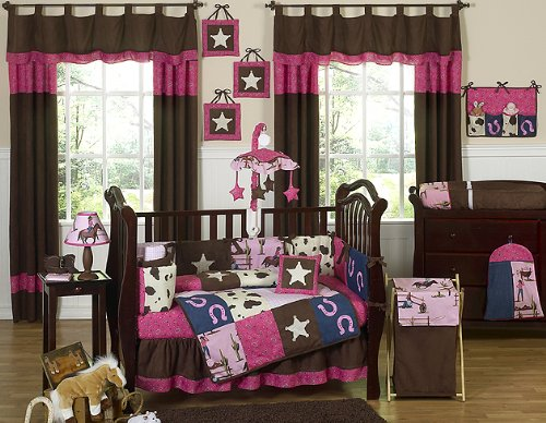 (Sweet Jojo Designs Western Horse Cowgirl Pink and Brown Baby Girl Bedding 9pc Crib Set)
