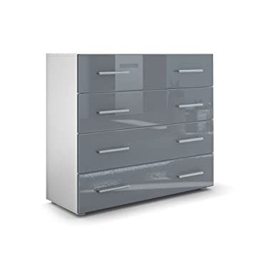 Vladon Kommode Sideboard Pavos Korpus In Weiss Matt Front In Grau