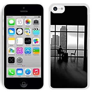 NEW Unique Custom Designed iPhone 5C Phone Case With Man Alone Apartment Skyscrapers View_White Phone Case wangjiang maoyi