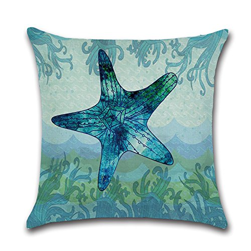 Royalours Cotton Linen Throw Pillow Covers Ocean Marine Animal Set Outdoor Decorative Pillow Cases Cushion Cover for Home Sofa Office 18''x 18'' (Blue Ocean Style) by Royalours (Image #1)
