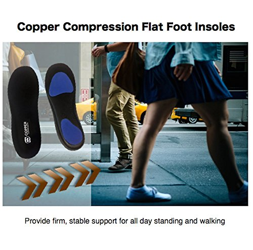 Copper Compression Flat Feet Foot Insoles. GUARANTEED Highest Copper Content Orthotic Shoe Insole/Inserts (Patent Pending). Support For Flat Feet, Heel Spurs, Plantar Fasciitis, Arch Pain (Medium) by Copper Compression (Image #6)