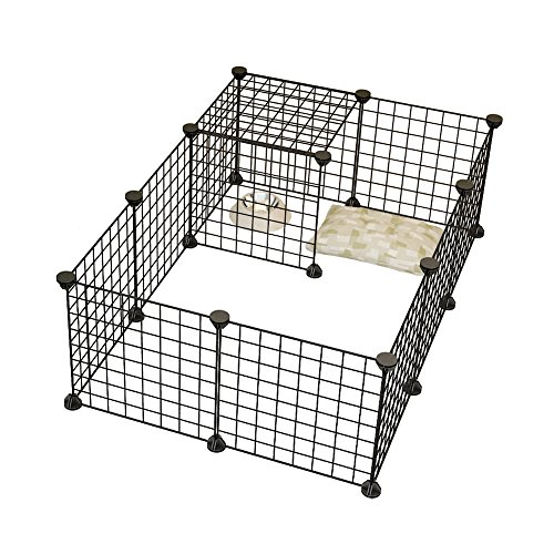 Dog Playpen By KOUSI Portable Large Metal Wire Pet Indoor Yard Fence for Small Animals Popup Kennel Crate Guinea Pigs Rabbit Puppy Tent - Black 12 (Pet Enclosure)
