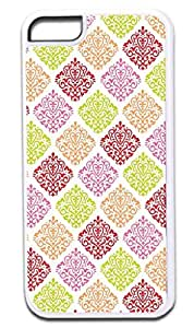 01-Colorful Damask Pattern- Case for the APPLE IPHONE 6 (4.5) ONLY!!! -Hard White Plastic Outer Case with Tough Black Rubber Lining