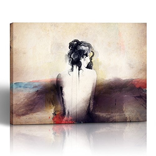 Emvency Painting Canvas Print Square 16x20 Inches White Face Woman Portrait Abstract Watercolor Paint Draw Ink Body Modern Lady Wall Art Decoration Wrapped Wooden Frame -