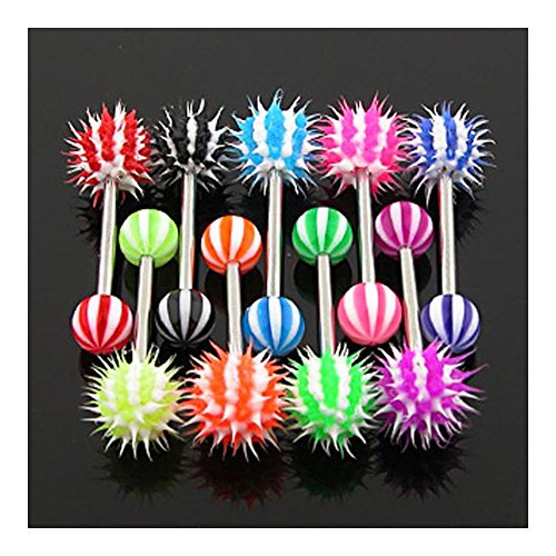 West Coast Jewelry {Red} Barbell with Candy Stripe Silicone Spikey Koosh Balls (Sold Individually) - 14 GA - Red