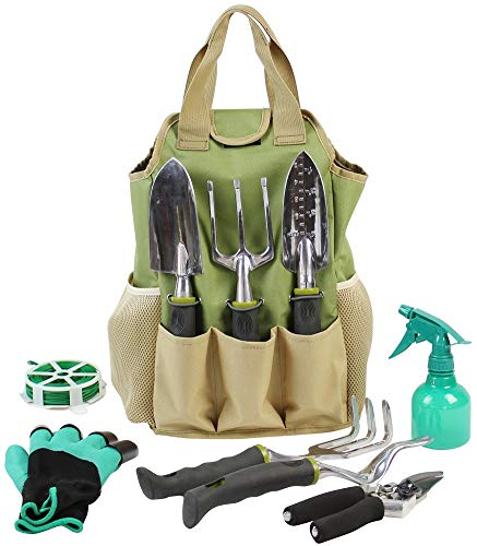 INNO STAGE Gardening Tools Set Organizer Tote Bag 10 Piece Garden Tools,Best Garden Gift Set,Vegetable Gardening Hand Tools Kit Bag Garden Digging Claw Gardening Gloves by INNO STAGE