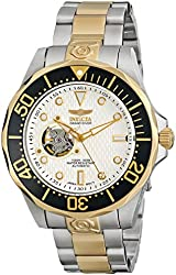 Invicta Men's 13704 Grand Diver Automatic White Textured Dial Two Tone Stainless Steel Watch