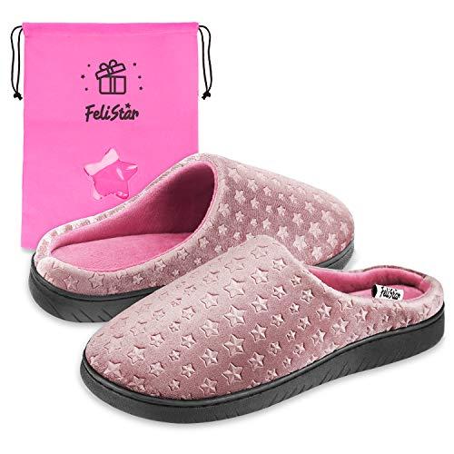 Felistar Womens Slippers,Winter Slip-On House Indoor Slippers for Women, Memory Foam, Fluffy,Soft & Comfortable Slippers