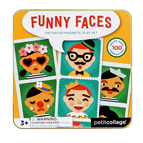 Petit Collage Silly Funny Faces Magnetic On-The-Go Travel Play Set, Multicolor]()