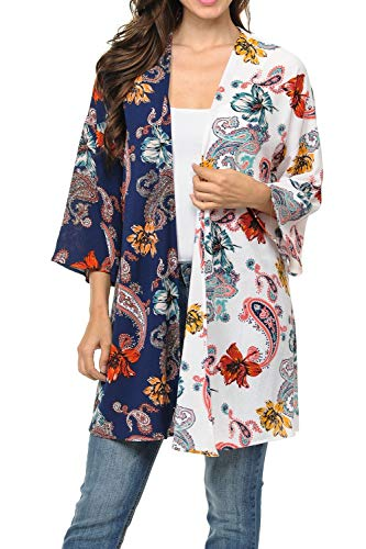 Auliné Collection Womens USA Made Casual Cover Up Cape Gown Robe Cardigan Kimono S2T1 Paisley FL Navy/Ivory L