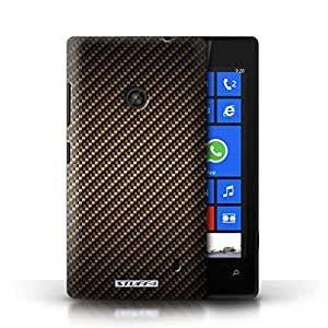 KOBALT? Protective Hard Back Phone Case / Cover for Nokia Lumia 520 | Gold Design | Carbon Fibre Effect/Pattern Collection