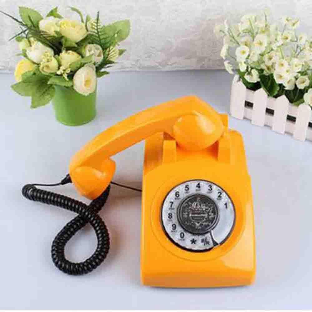 YAOHM Téléphone Antique À La Maison Rotary Téléphone Rétro De Téléphone Rétro De Basephone Craft,Orange