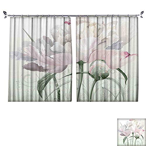 Fashion Window Curtain with hookFloral Pink Roses Tulips Abstract Leaves with Petals and Buds Detailed Print Image Radiation Protection,W55 xL63