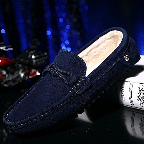 Meeshine Mens Suede Faux Fur Slippers Slip On Moccasins Loafers Flat Shoes Blue tJMU8KV9